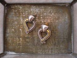 Silver Tone Heart Pierced Earring