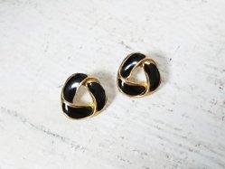 Gold×Black Retro Pierced Earring