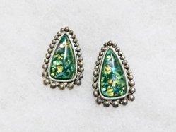 Green Mosaic Pierced Earring
