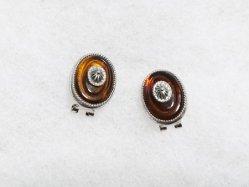 Oval Orange Brown Earring