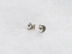 Silver Moon+Star Pierced Earring