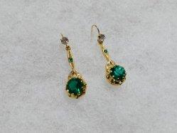Green+Clear Stones Pierced Earring