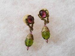 Green+Purple Pierced Earring