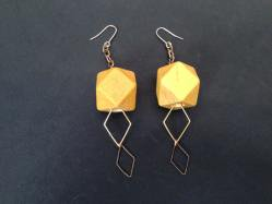 Yellow Wood Pierced Earring