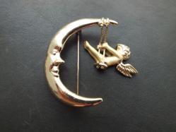 Crescent Moon+Angel Broach