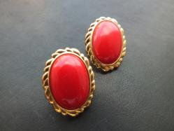 Oval Red Pierced Earring