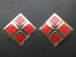 Red Square Pierced Earring