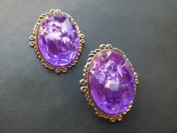 1980s Purple Rough Pierced Earring