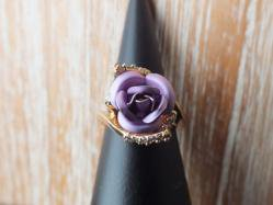 1980s Pink Purple Rose Ring