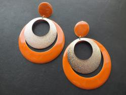 1980s Orange Hoop Pierced Earring