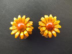 Orange Yellow Flower Earring