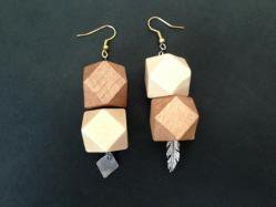 2 Colors Wood Pierced Earring