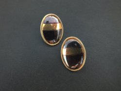 Oval Brown Pierced Earring