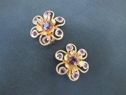 Violet Stone Flower Earring