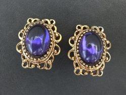 Oval Purple Parts Earring