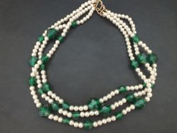 Pearl+Green Parts Necklace
