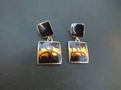 Brown Marbled Pierced Earring