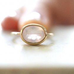 rosequartz oval anello
