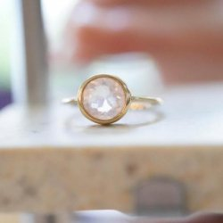 rosequartz round anello
