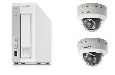 QNAP防犯カメラセット(NASレコーダー(3TB)+固定ドームカメラ2台)