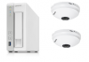 QNAP防犯カメラセット(NASレコーダー(3TB)+全方位カメラ2台) 小規模店舗や事務所用