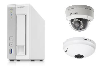 QNAP防犯カメラセット(NASレコーダー(3TB)+固定ドームカメラ+全方位カメラ)