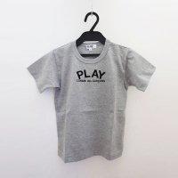 【キッズ】コムデギャルソン半袖Tシャツ グレー 綿100% 背中にハート フロントにPLAYロゴ