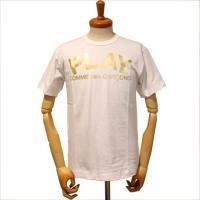 【メンズ】プレイ・コムデギャルソン半袖Tシャツ 白 綿100% 箔プリント【新品】