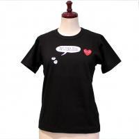 【レディース】PLAY COMME des GARCONS 半袖Tシャツ 黒 綿100% プリント赤エンブレム 【新品】
