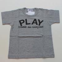 【キッズ】コムデギャルソン半袖Tシャツ グレー 綿100% 胸にPLAYロゴのプリント