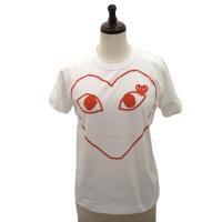 【レディース】PLAY COMME des GARCONS 半袖Tシャツ 白 綿100% プリント 赤エンブレム【新品】