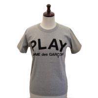 【レディース】 PLAY COMME des GARCONS 半袖Tシャツ TOPグレー 綿TOP天竺プリント