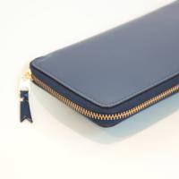 【ユニセックス】 tricot COMME des GARCONS 長財布二つ折りZIP財布 紺 ステアガラス仕上げ