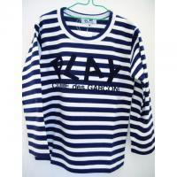 【キッズ】コムデギャルソン長袖Tシャツ 綿天竺ボーダー紺/白 ロゴプリント 綿100%