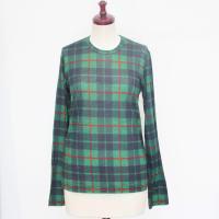 【レディース】 tricot Comme des Garcons 長袖Tシャツ グリーン タータンチェック TL-T033-051