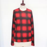 【レディース】 tricot Comme des Garcons 長袖Tシャツ 赤 タータンチェック TL-T033-051-3