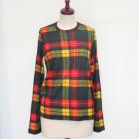 【レディース】 tricot Comme des Garcons 長袖Tシャツ イエロー タータンチェック TL-T033-051-4