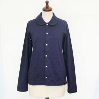 【レディース】 tricot Comme des Garcons 長袖シャツ 紺 水玉 綿100% TL-T036-051-1