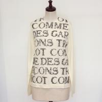 【レディース】 tricot Comme des Garcons ウール天竺 プリント長袖Tシャツ 生成 X 黒 TL-T207-051-3