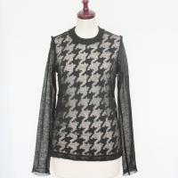 【レディース】 tricot Comme des Garcons 透け感がステキな長袖シャツ 黒X黒 毛100% TL-T215-051-1