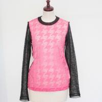 【レディース】 tricot Comme des Garcons 透け感がステキな長袖シャツ ピンクX黒 TL-T215-051-3