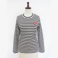 【レディース】PLAY COMME des GARCONS長袖Tシャツ 黒/白 綿100% 赤エンブレム【新品】