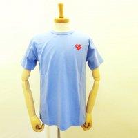 【メンズ】PLAY COMME des GARCONS 半袖Tシャツ ブルー 綿100% 赤エンブレム  コムデギャルソン