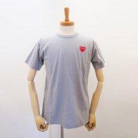 【メンズ】PLAY COMME des GARCONS 半袖Tシャツ グレー 綿100% 赤エンブレム  コムデギャルソン