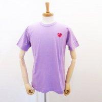 【メンズ】PLAY COMME des GARCONS 半袖Tシャツ パープル 綿100% 赤エンブレム |コムデギャルソン