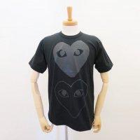 【メンズ】PLAY COMME des GARCONS 半袖Tシャツ 黒 綿天竺 ハートプリントx2 PLAYタイプロゴ
