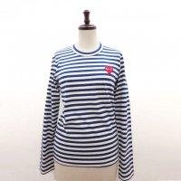 【レディース】PLAY COMME des GARCONS長袖Tシャツ 花紺/白 綿100% 赤エンブレム【新品】