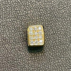 イニシャルビーズ30g   片面フルダイヤ 片面一粒ダイヤ[K18]