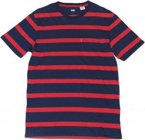 LEVI'S ボーダー胸ポケTシャツ -ネイビー x レッド