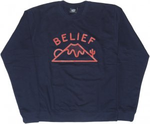 BELIEF NYC ACTIVE クルーネック -ネイビー